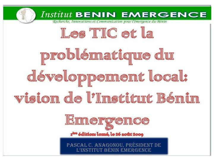 Pascal C. ANAGONOU, Président de l'Institut Bénin Emergence
