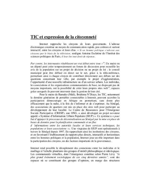 TIC et expression de la citoyenneté Internet rapproche les citoyens de leurs gouvernants. L'adresse électronique constitue...