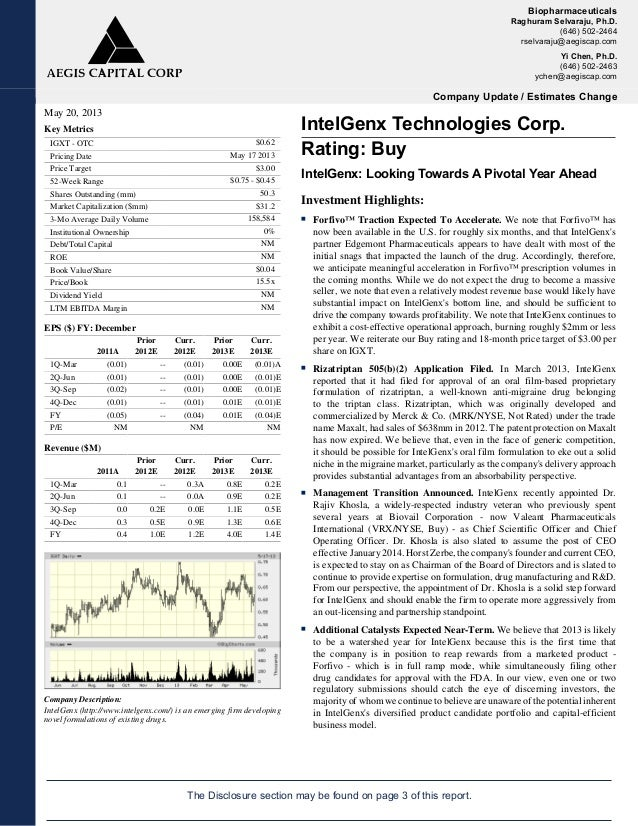 Full Analyst Report: IntelGenx Tech. Rating: Buy. IntelGenx Looking Towards A Pivotal Year Ahead