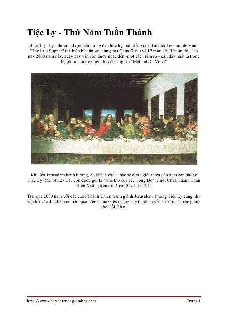 """Tiệc Ly - Thứ Năm Tuần Thánh  Buổi Tiệc Ly - thường được liên tưởng đến bức họa nổi tiếng của danh tài Leonard de Vinci  """"..."""