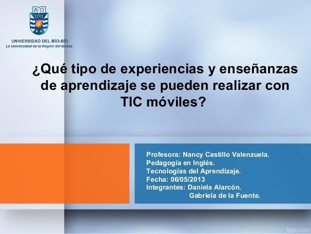 Profesora: Nancy Castillo Valenzuela.Pedagogía en Inglés.Tecnologías del Aprendizaje.Fecha: 06/05/2013Integrantes: Daniela...