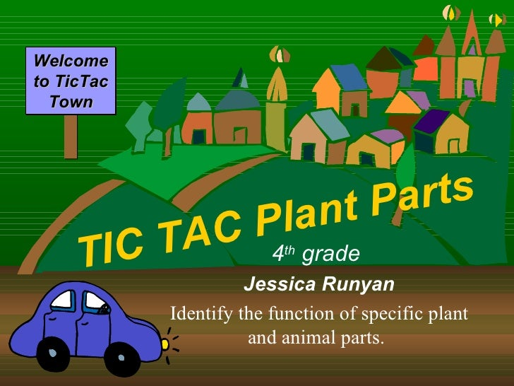 TIC TAC Plant Parts 4 th  grade  Jessica Runyan Identify the function of specific plant and animal parts.   Welcome to Tic...