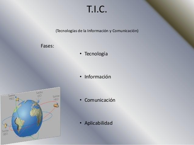 T.I.C.         (Tecnologías de la Información y Comunicación)Fases:                      • Tecnología                     ...