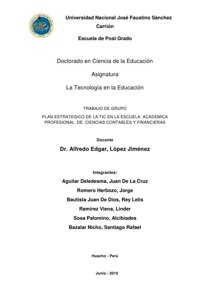 a                  Universidad Nacional José Faustino Sánchez Carrión<br />Escuela de Post Grado<br />Doctorado en Ciencia...