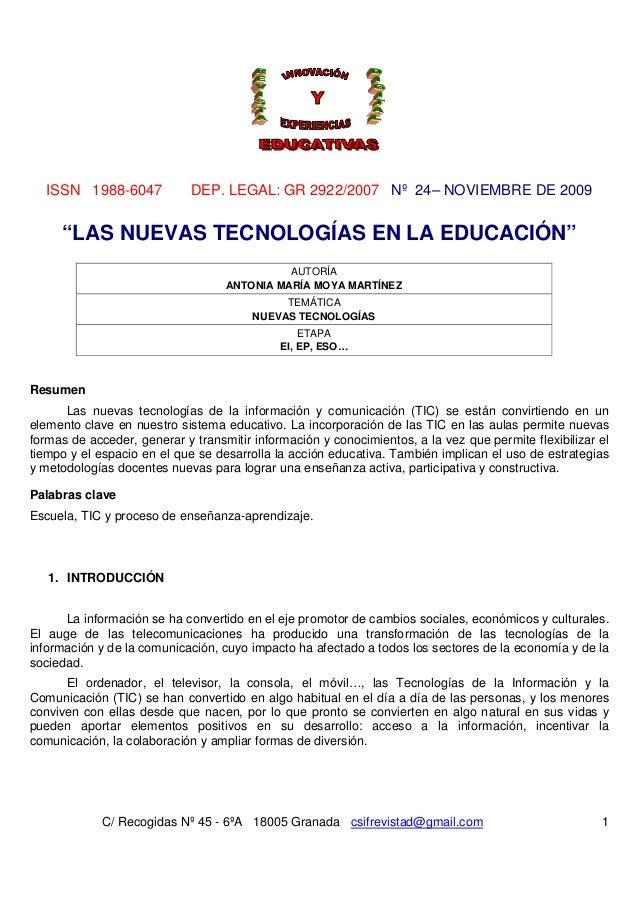 ISSN 1988-6047 DEP. LEGAL: GR 2922/2007 Nº 24– NOVIEMBRE DE 2009C/ Recogidas Nº 45 - 6ºA 18005 Granada csifrevistad@gmail....