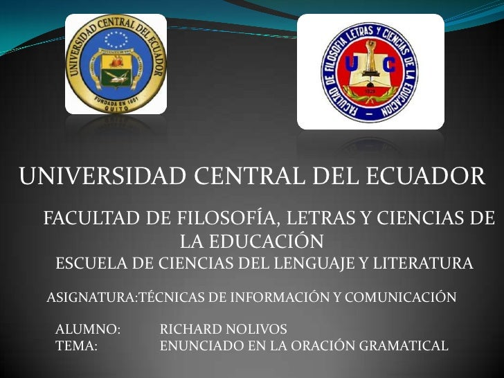 UNIVERSIDAD CENTRAL DEL ECUADOR FACULTAD DE FILOSOFÍA, LETRAS Y CIENCIAS DE             LA EDUCACIÓN  ESCUELA DE CIENCIAS ...