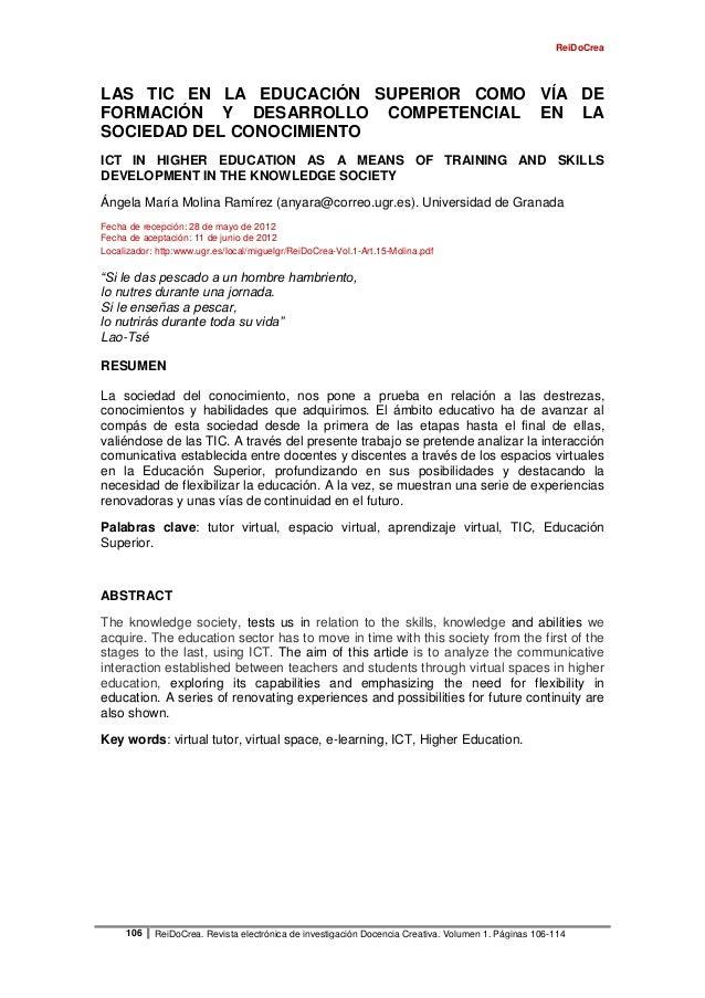 ReiDoCrea106 ReiDoCrea. Revista electrónica de investigación Docencia Creativa. Volumen 1. Páginas 106-114LAS TIC EN LA ED...