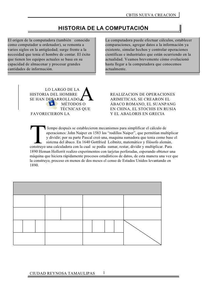 CBTIS NUEVA CREACION                              HISTORIA DE LA COMPUTACIÓNEl origen de la computadora (también conocido ...