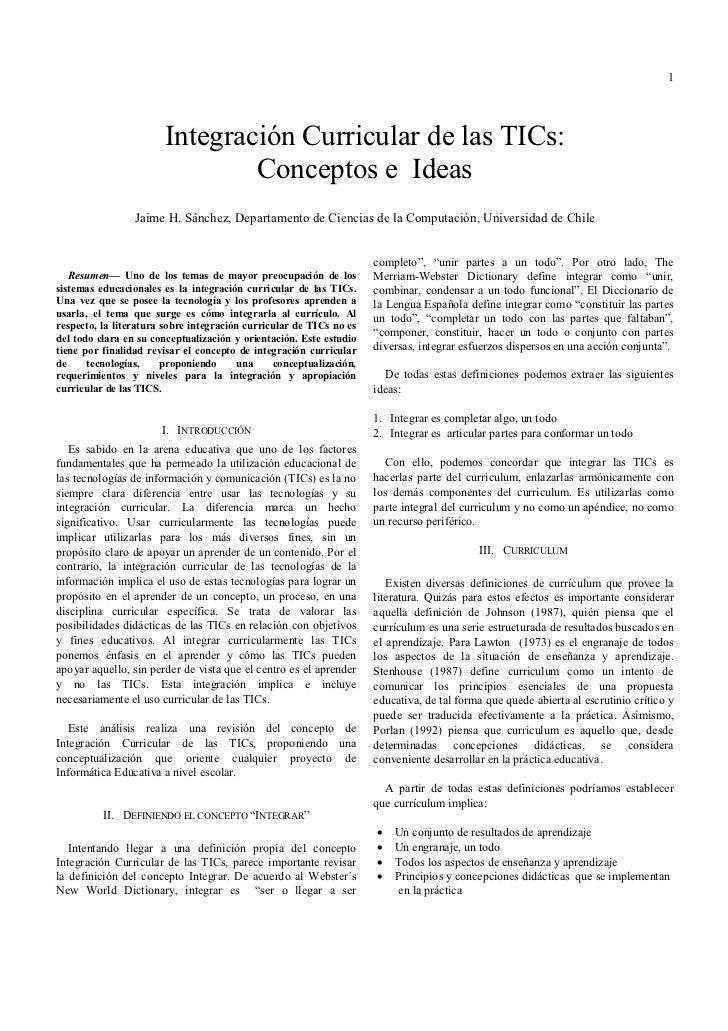 1                       Integración Curricular de las TICs:                               Conceptos e Ideas               ...