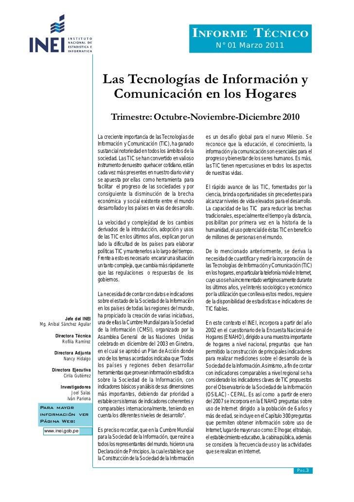 """""""Las Tecnologías de Información  y Comunicación en los Hogares,  trimestre: octubre-noviembre-diciembre 2010"""""""
