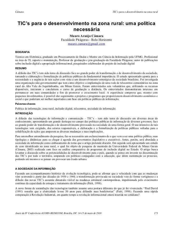 Tic's para o desenvolvimento na zona rural necessária - Mauro Araújo Câmara (2010)