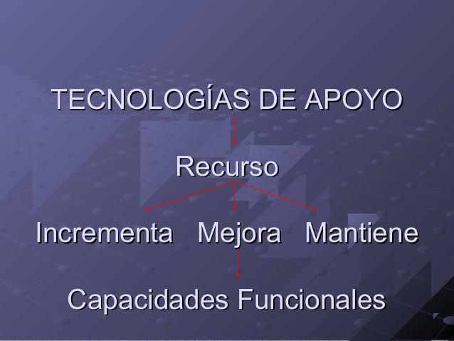 TECNOLOGÍAS DE APOYO Recurso Incrementa Mejora Mantiene Capacidades Funcionales