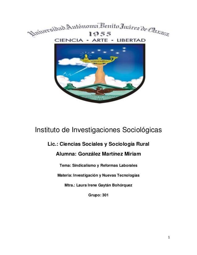 Instituto de Investigaciones Sociológicas    Lic.: Ciencias Sociales y Sociología Rural       Alumna: González Martínez Mi...