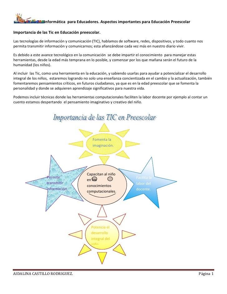 Informática para Educadores. Aspectos importantes para Educación PreescolarImportancia de las Tic en Educación preescolar....