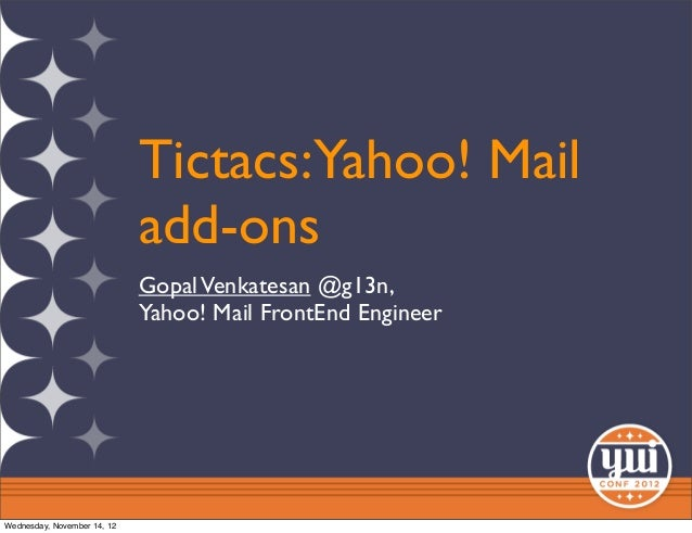 Tictacs: Yahoo! Mail add-ons