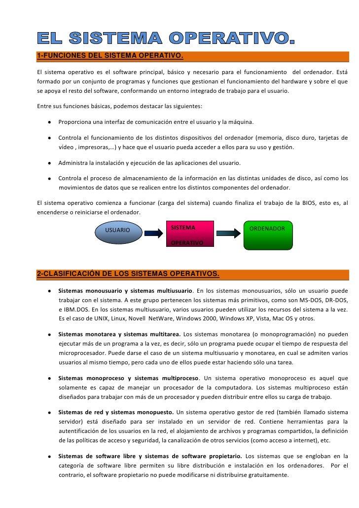 1-FUNCIONES DEL SISTEMA OPERATIVO.El sistema operativo es el software principal, básico y necesario para el funcionamiento...