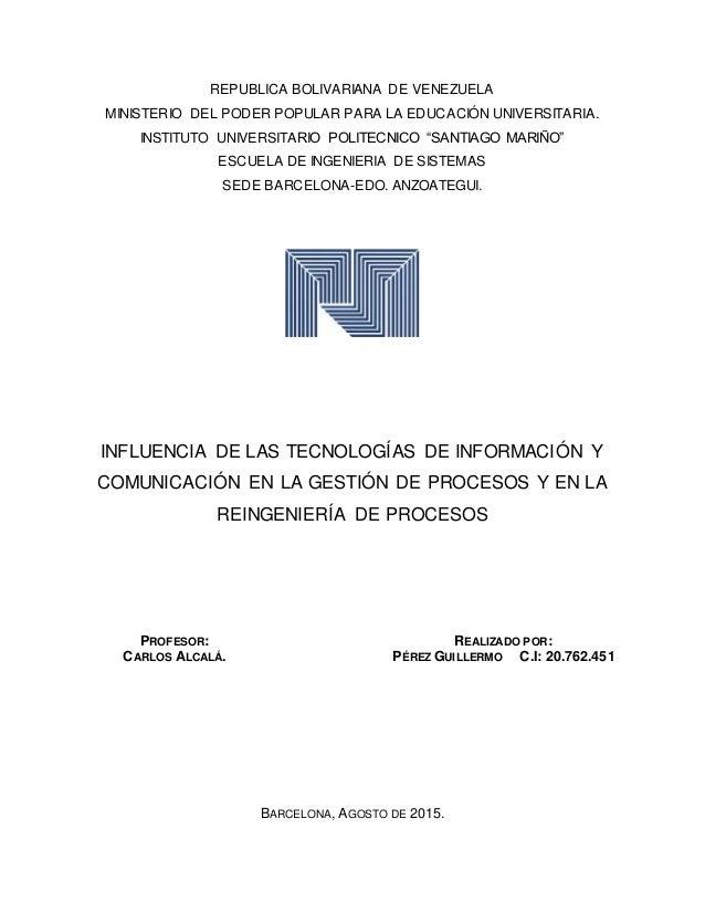 REPUBLICA BOLIVARIANA DE VENEZUELA MINISTERIO DEL PODER POPULAR PARA LA EDUCACIÓN UNIVERSITARIA. INSTITUTO UNIVERSITARIO P...