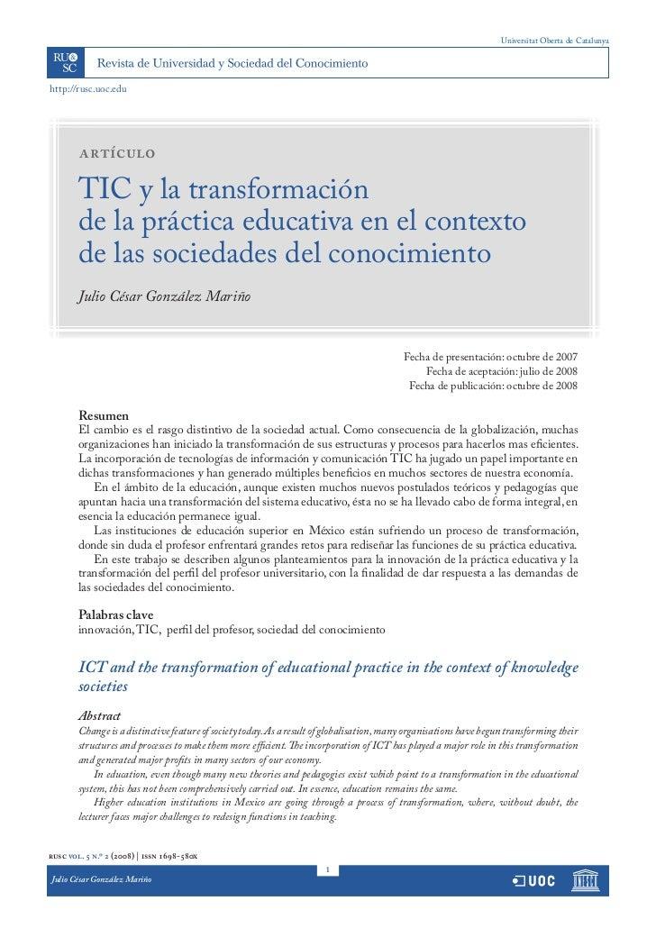 Universitat Oberta de Catalunyahttp://rusc.uoc.edu        artículo        TIC y la transformación        de la práctica ed...