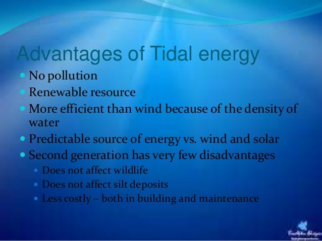 tidal power Tidal power is the only form of energy which derives directly from the relative motions of the earth–moon sys- tem, and to a lesser extent from the earth–sun system.