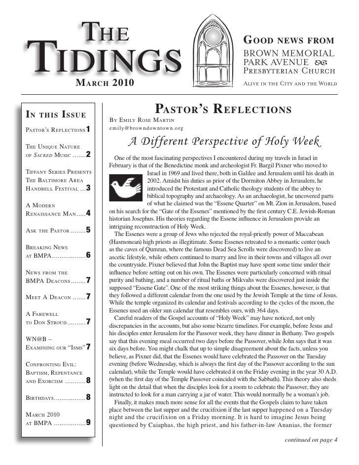The Tidings                                                                                           G ood          news ...