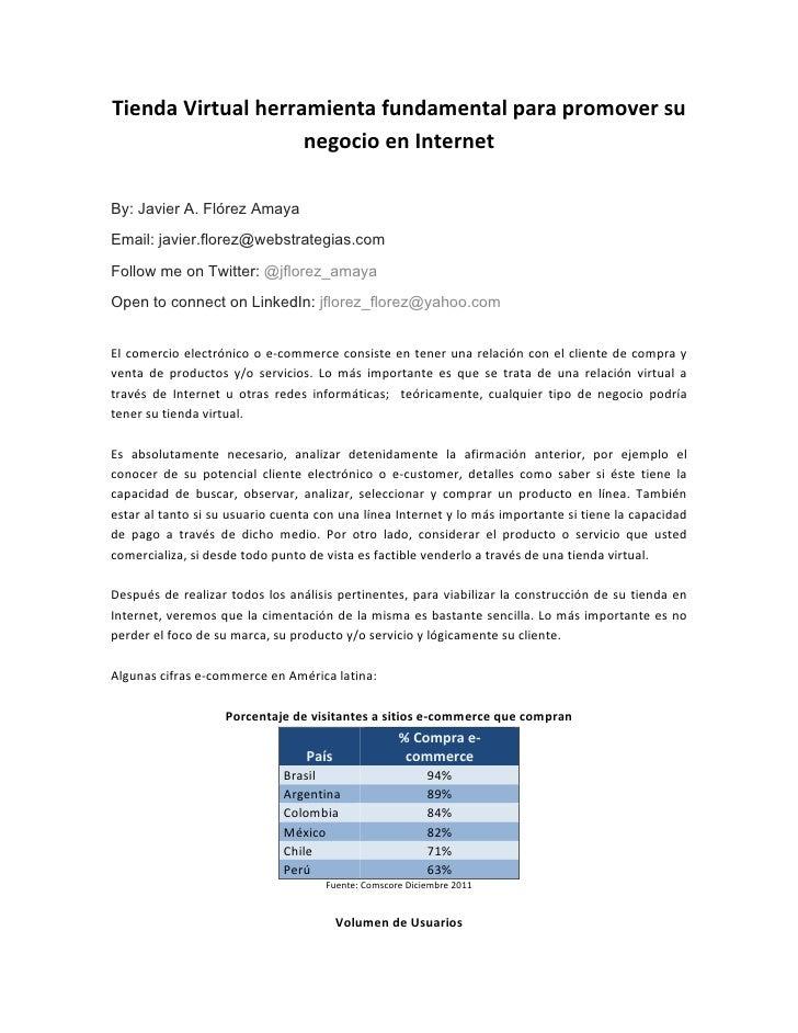 Tienda Virtual herramienta fundamental para promover su                            negocio en Internet ...