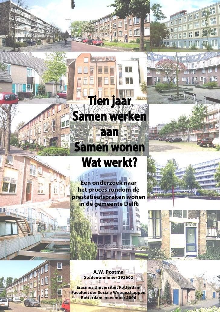 KAFT [VOORKANT]     Een onderzoek naar    het proces rondom de  prestatieafspraken wonen    in de gemeente Delft          ...