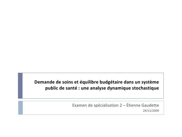 Demande de soins et équilibre budgétaire dans un système public de santé : une analyse dynamique stochastique Examen de sp...