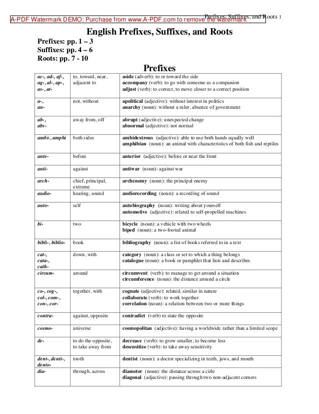 english prefix and suffix Resources on prefixes and suffixes (grammar) for teachers and students of english as a foreign or second language (efl / esl), including printable worksheets, online quizzes and book references.