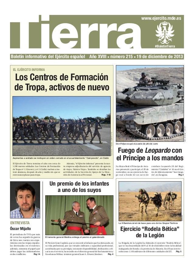 Tierra  www.ejercito.mde.es  #BoletínTierra  Boletín informativo del Ejército español Año XVIII número 215 19 de diciembre...