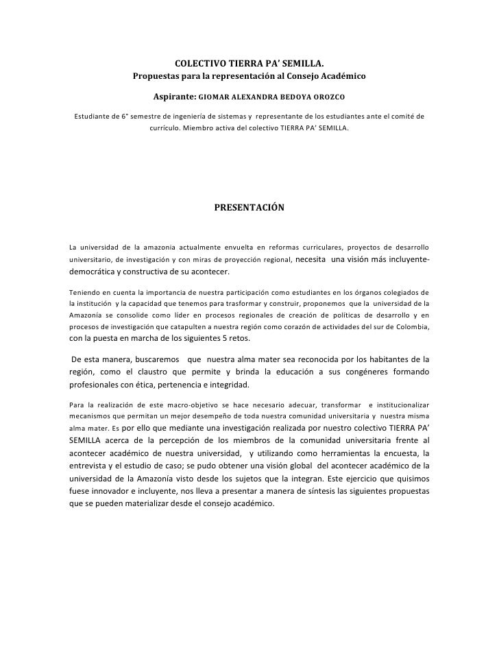 COLECTIVO TIERRA PA' SEMILLA.                   Propuestas para la representación al Consejo Académico                    ...