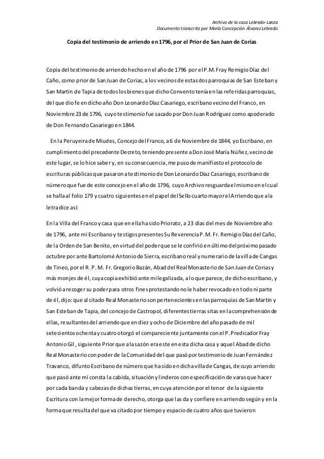 Archivo de la casa Lebredo-Lanza  Documento transcrito por María Concepción Álvarez Lebredo  Copia del testimonio de arrie...