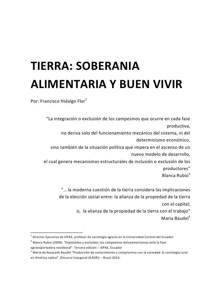 TIERRA: SOBERANIA ALIMENTARIA Y BUEN VIVIR, por Francisco Hidalgo