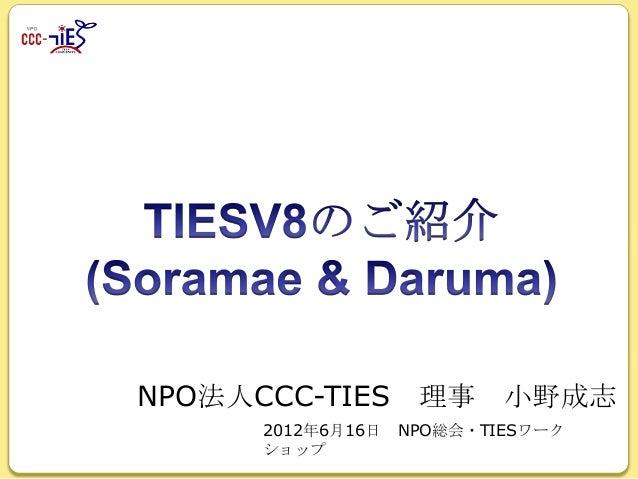NPO法人CCC-TIES 理事 小野成志 2012年6月16日 ショップ  NPO総会・TIESワーク