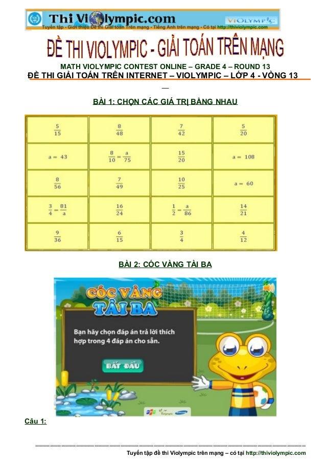 Đề thi Violympic Giải toán trên mạng Lớp 4 - vòng 13 - năm học 2013 - 2014