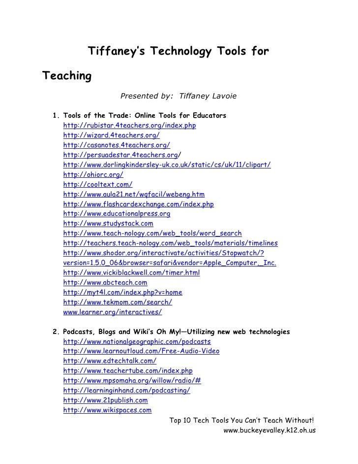 Tiffaney's technology tools