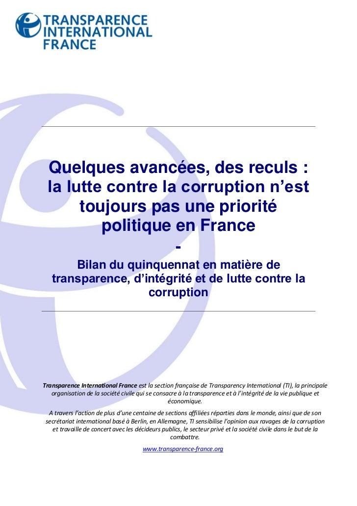 Quelques avancées, des reculs : la lutte contre la corruption n'est      toujours pas une priorité         politique en Fr...
