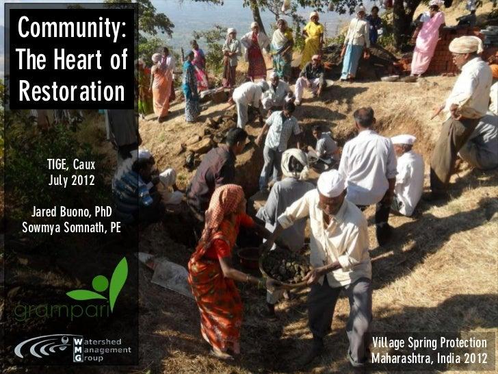 Community:The Heart ofRestoration    TIGE, Caux    July 2012 Jared Buono, PhDSowmya Somnath, PE                     Villag...