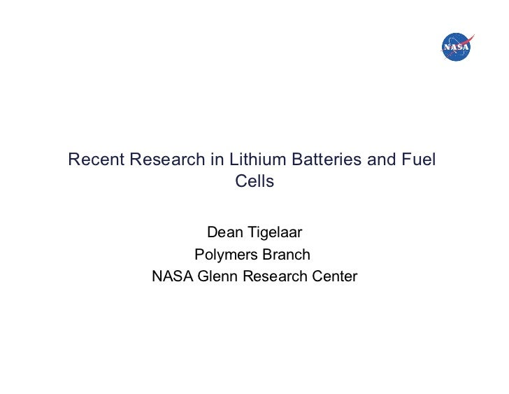 National Aeronautics and Space Administration!         Recent Research in Lithium Batteries and Fuel                      ...