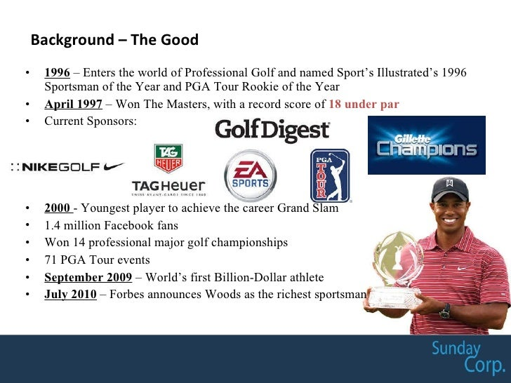 Background – The Good <ul><li>1996  – Enters the world of Professional Golf and named Sport's Illustrated's 1996 Sportsman...
