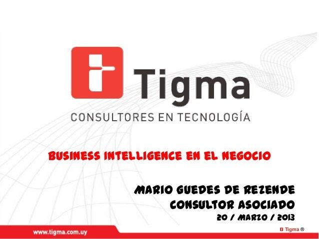 Tigma ®Business Intelligence en el NegocioMario Guedes de RezendeConsultor Asociado20 / Marzo / 2013