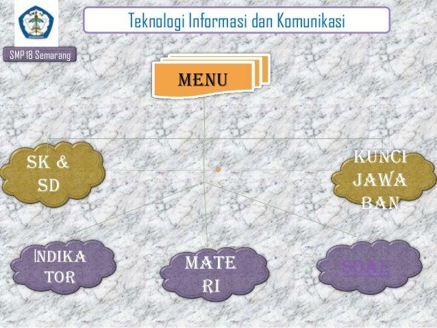 Teknologi Informasi dan Komunikasi SMP 18 Semarang  Menu  Kunci jawa ban  sk & sd  Indika tor  Mate ri  SOAL