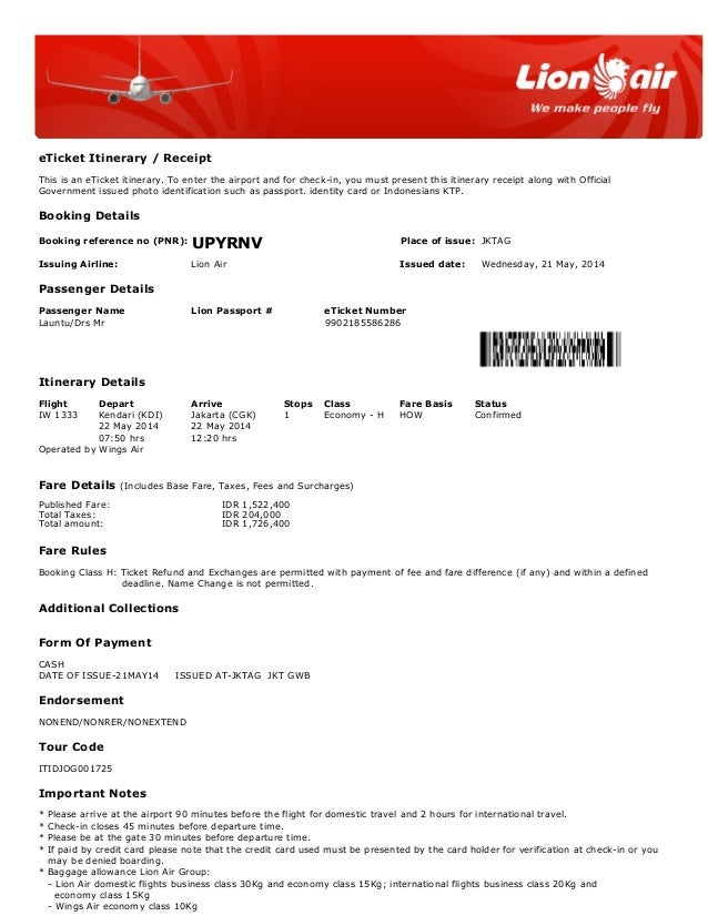 eTicket Itinerary / Receipt This is an eTicket itinerary. To enter the airport and for check-in, you must present this iti...