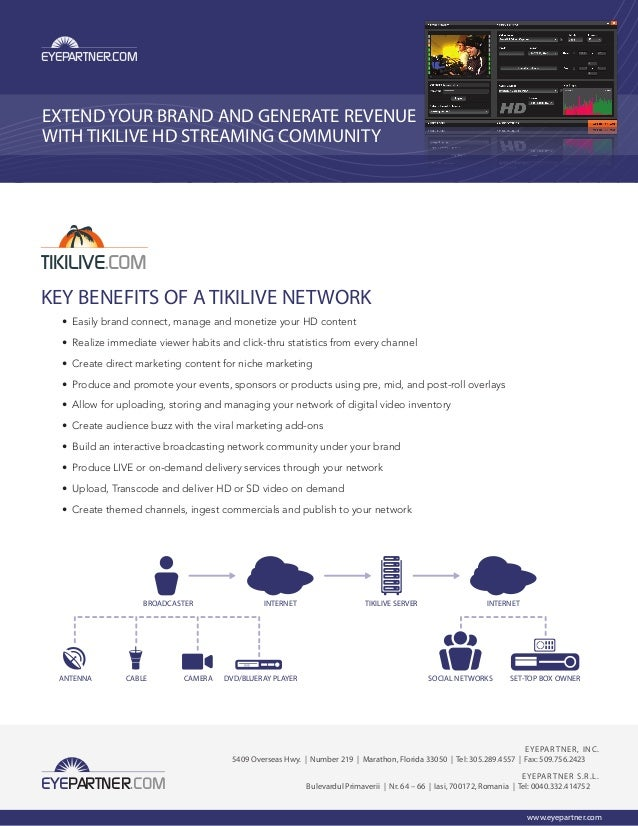 TIKILIVE.COMEXTEND YOUR BRAND AND GENERATE REVENUEWITH TIKILIVE HD STREAMING COMMUNITYKEY BENEFITS OF A TIKILIVE NETWORK• ...