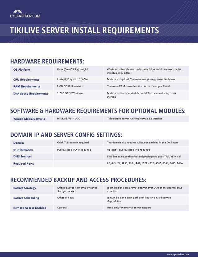 TikiLIVE Server Installation Guide and Requirements