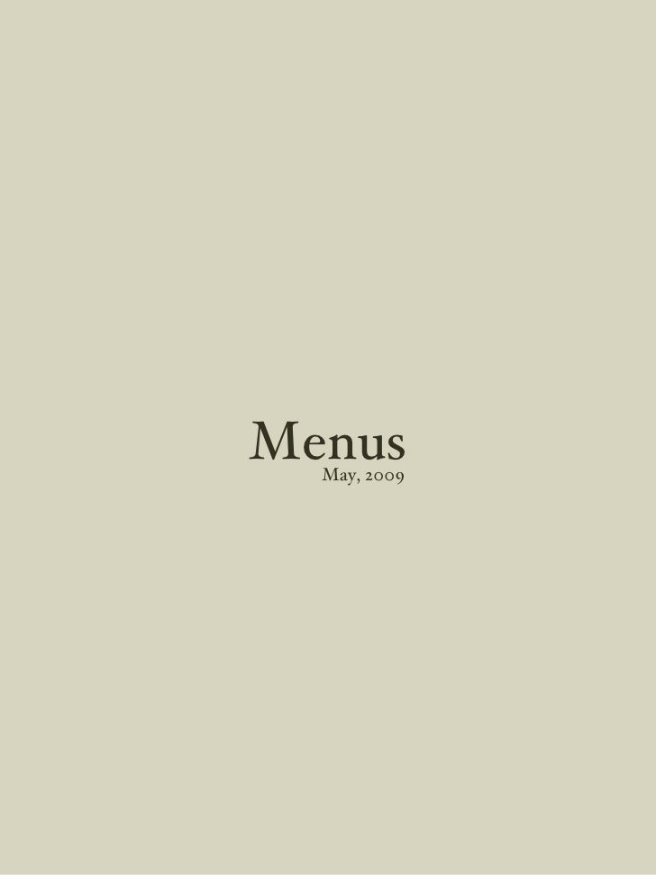 Menus May, 2009
