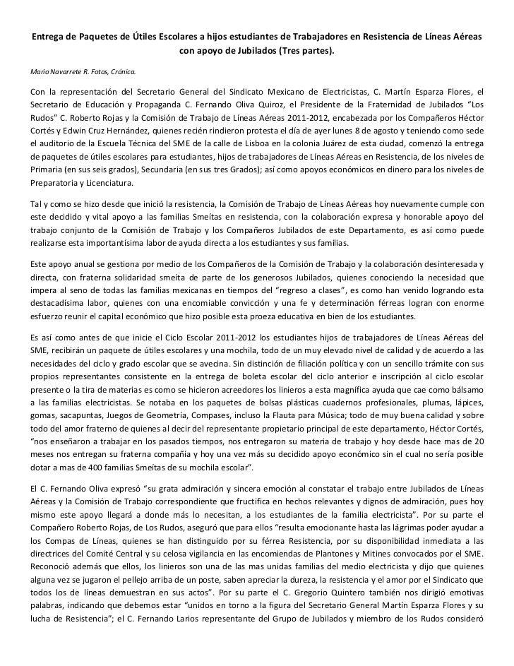 Entrega de Paquetes de Útiles Escolares a hijos estudiantes de Trabajadores en Resistencia de Líneas Aéreas con apoyo de J...