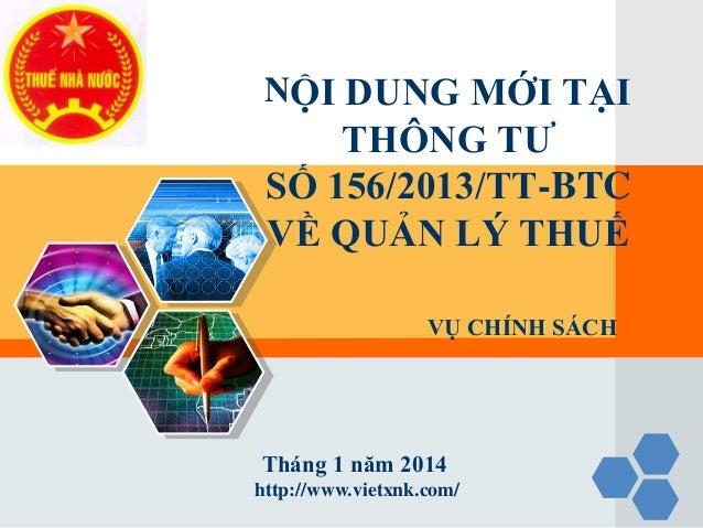 Tài liệu tập huấn về khai thuế - tính thuế - nộp thuế theo TT 156
