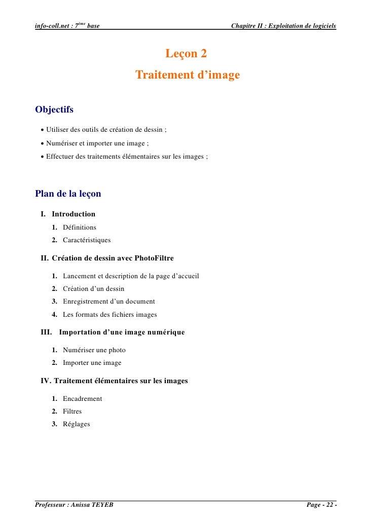 info-coll.net : 7ème base                                     Chapitre II : Exploitation de logiciels                     ...