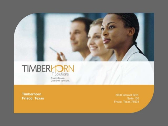 Agenda • Timberhorn – The Secret to Our Success! − Awards and Recognition − Company Stats • CDS (Comprehensive Delivery Sy...