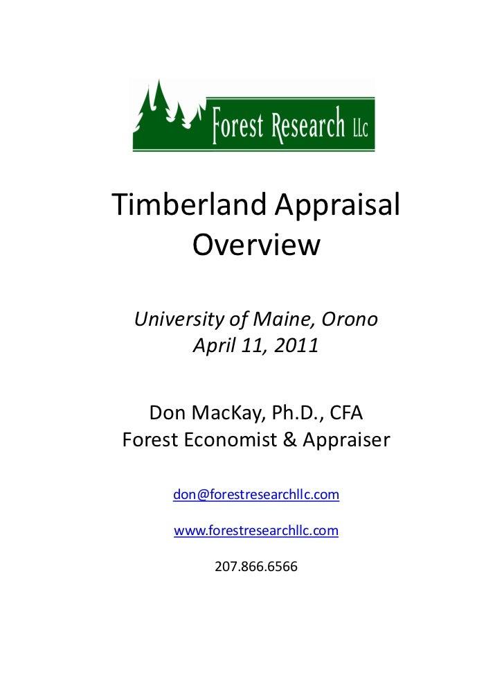 Timberland Appraisal Overview 2011